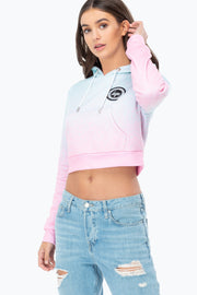 Hype Grey/White Just Hype Tape Women's Crop Hoodie