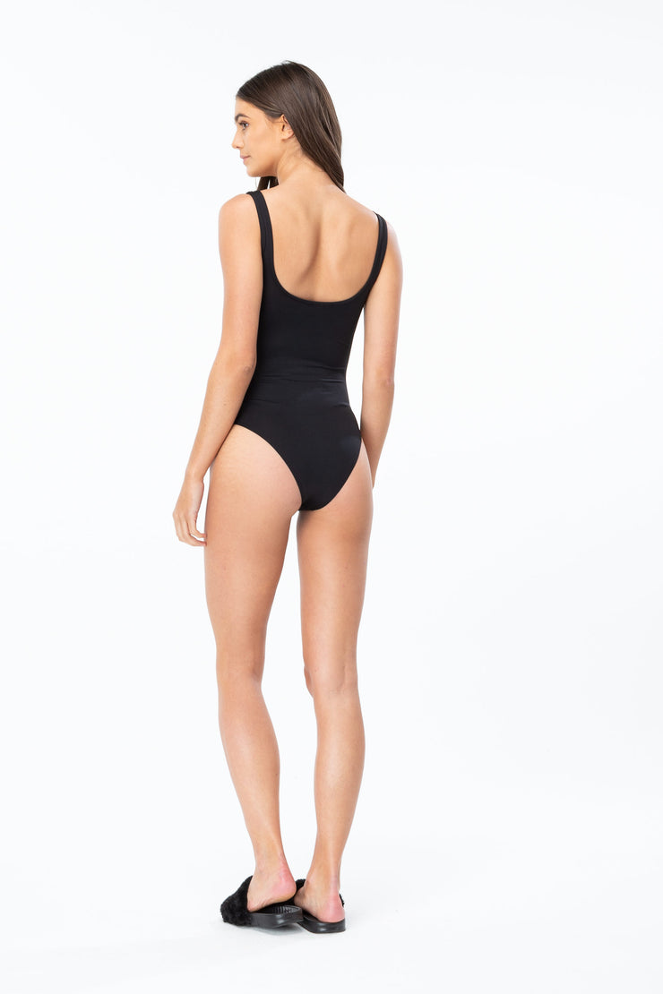 Hype Black/White Script Women's Swimsuit