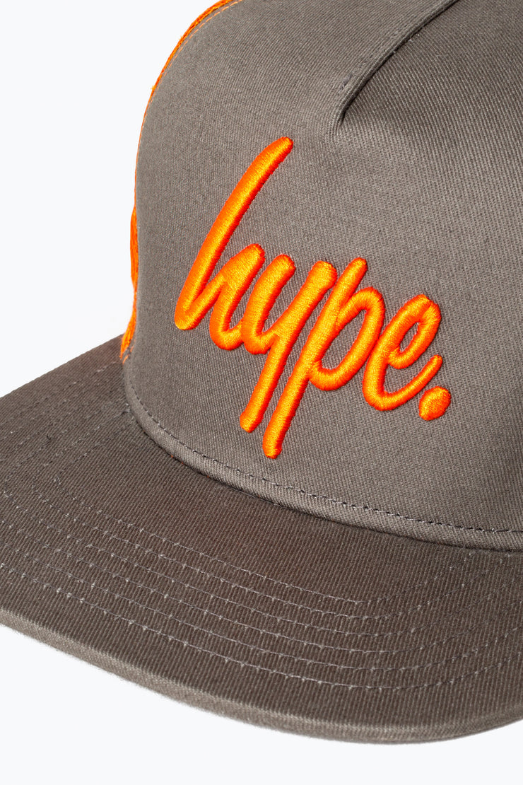 Hype Grey/Orange Big Script Trucker Hat