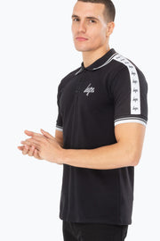 Hype Black/White Script Tape Men's Polo Shirt