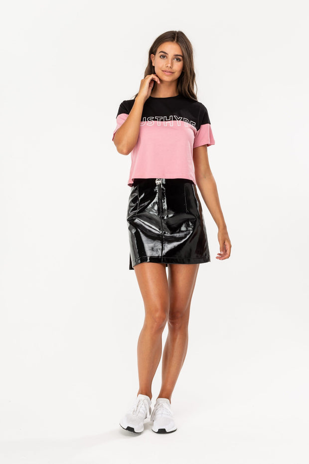 Hype Pink/Black Half Text Women's Crop Top