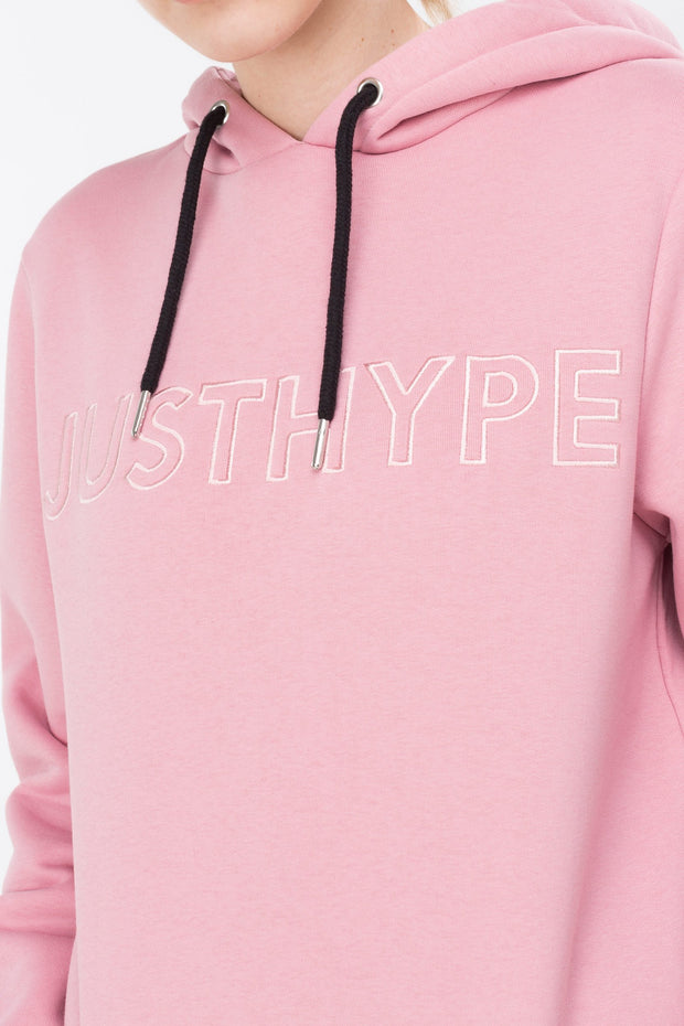 Hype Pink Embroidered Women's Pullover Hoodie