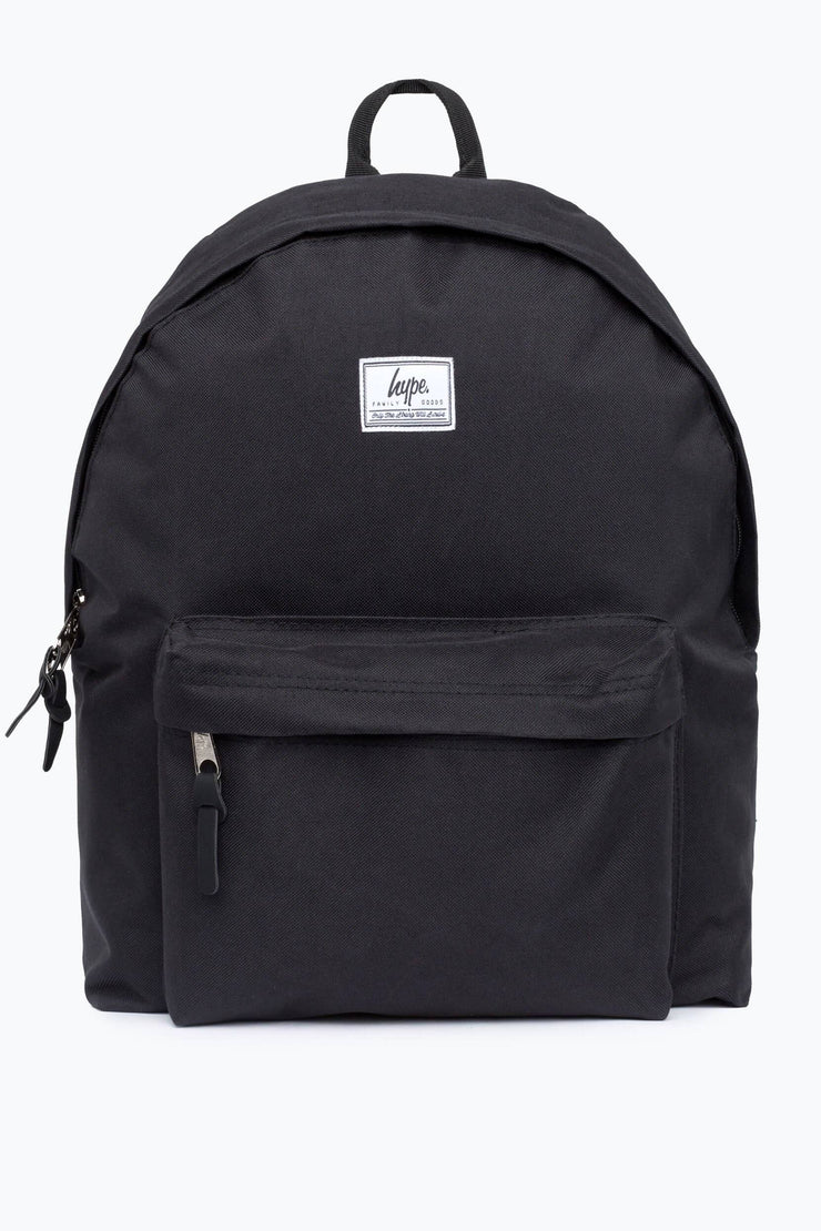Hype Black Woven Tab Backpack