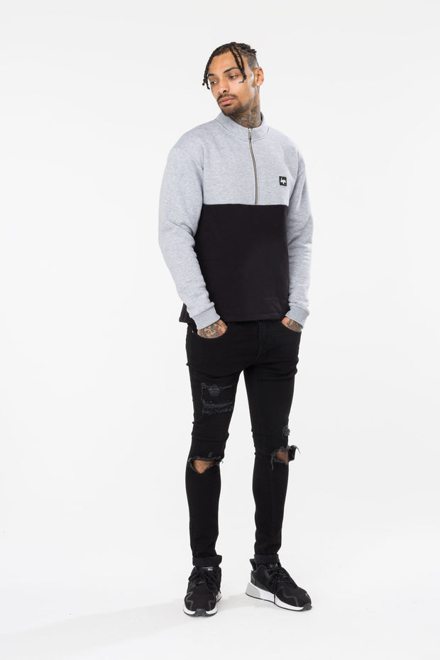 Hype Grey/Black Stand Men's Crewneck
