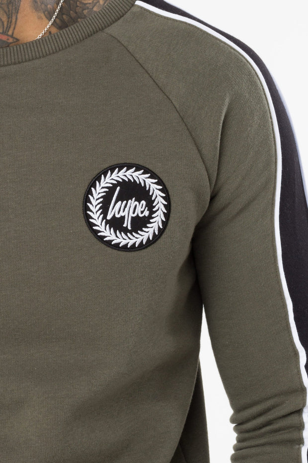 Hype Khaki/Black Stripe Men's Crewneck