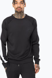 Hype Black Poly Stripe Men's Crewneck