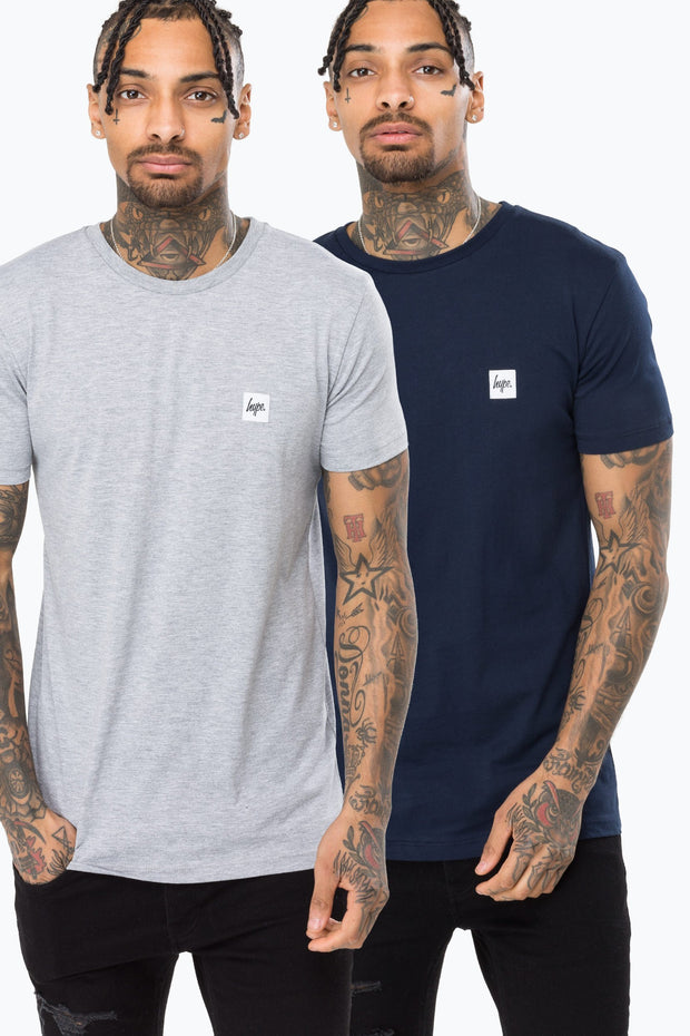 Hype Multi Core Navy Grey Men's T-Shirt Pack X2