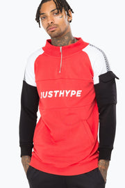 Hype Red/Black Pit Highneck Men's Crewneck