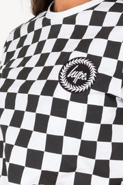 Hype Black/White Checkerboard Women's Crop Top
