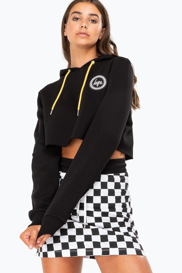Hype Black Checkerboard Women's Crop Hoodie