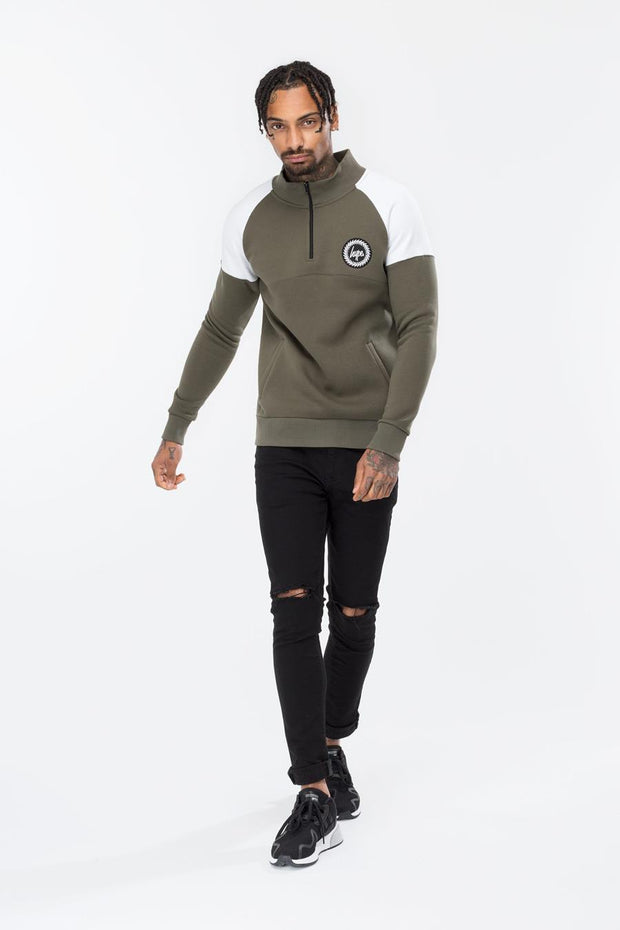 Hype Khaki Crest Men's High Neck Zip Crewneck