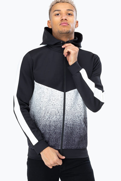 Hype Black/White Speckle Fade Crest Men's Poly Track Jacket