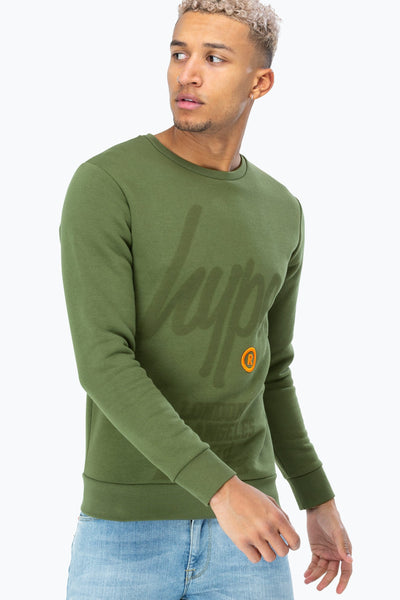 Hype Khaki Green Registered Script Men's Crewneck