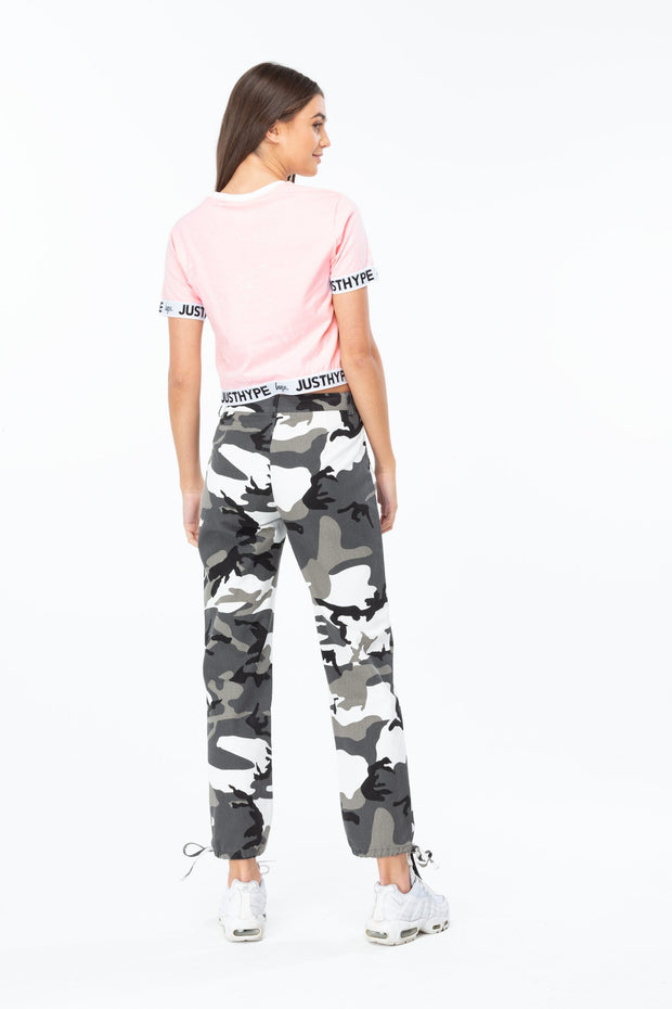 Hype Pink/White Just Hype Tape Women's Crop T-Shirt