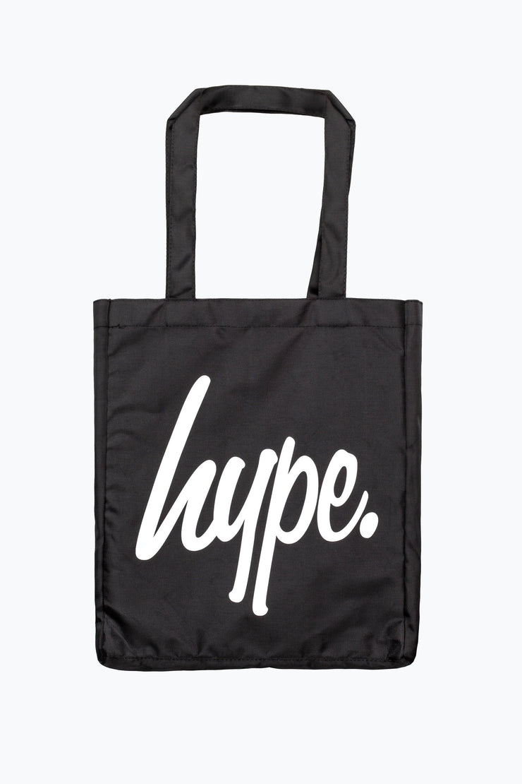 Hype Black/White Script Tote Bag