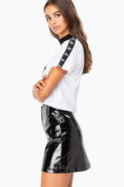 Hype White/Black Taped Turtle Women's Crop Top