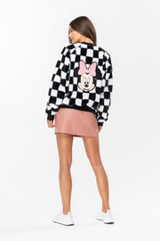 Hype Disney Black Minnie Checkerboard Women's Crop Jacket