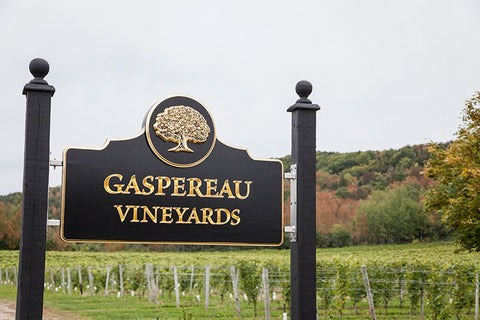 The Gaspereau Vineyards sign in front of the vines