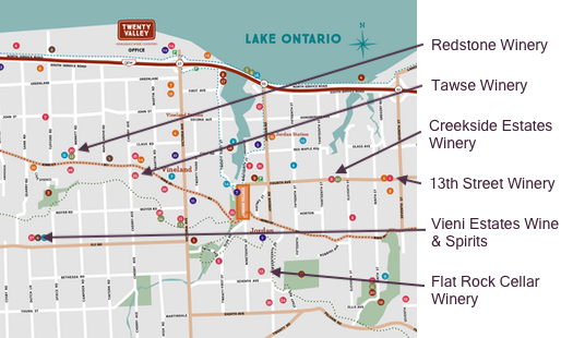Map showing locations of wineries in tour