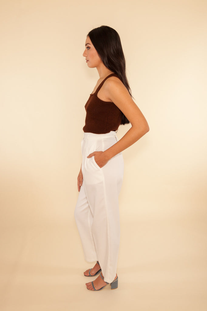 White High-Waisted Pants