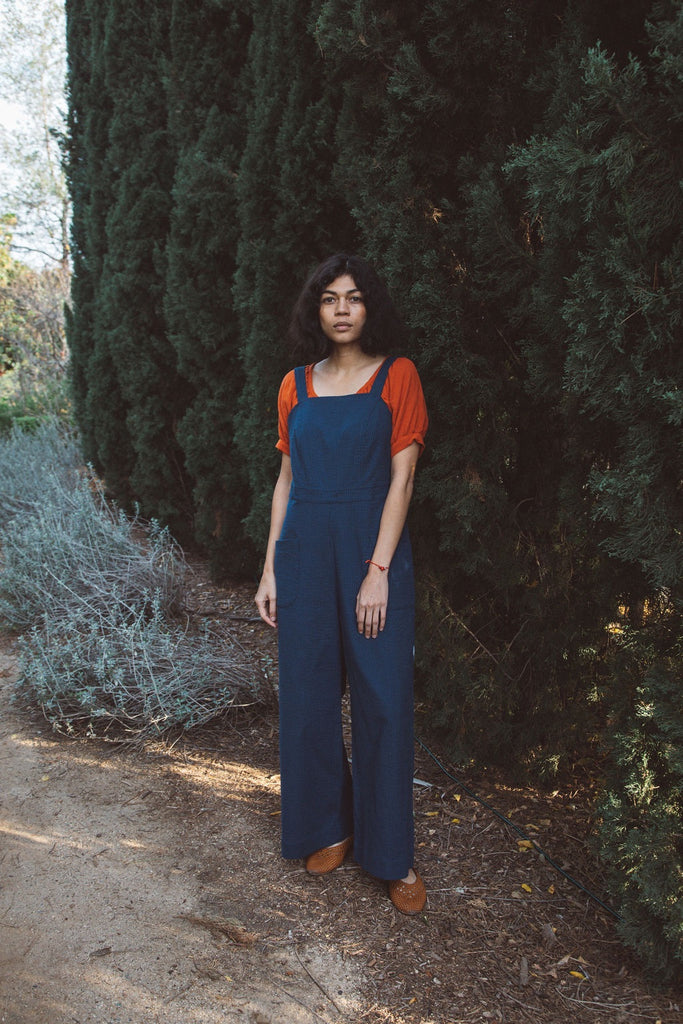 Delia Jumpsuit in Navy Cotton Twill