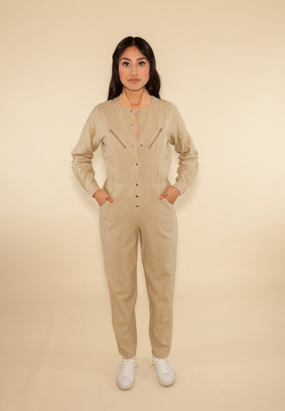 Raw Silk Tan Jumpsuit