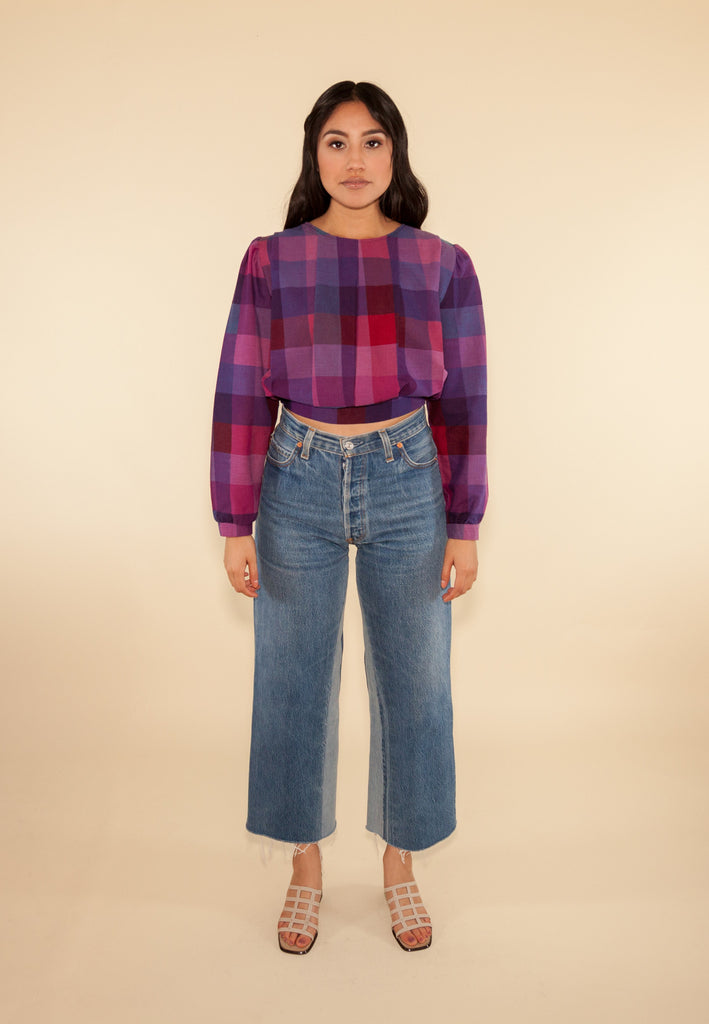Purple Plaid Crop Top