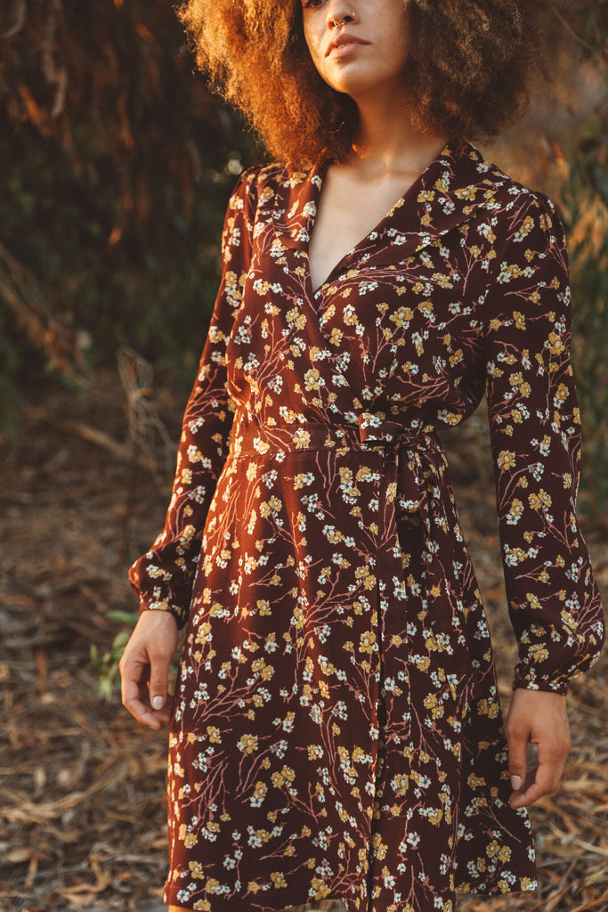Woman wearing floral wrap dress