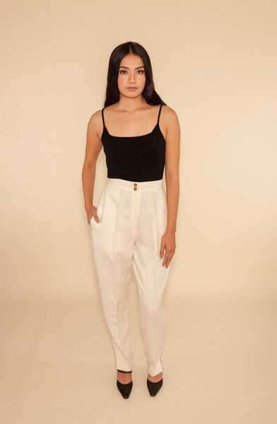 Cream Linen High-Waisted Pants