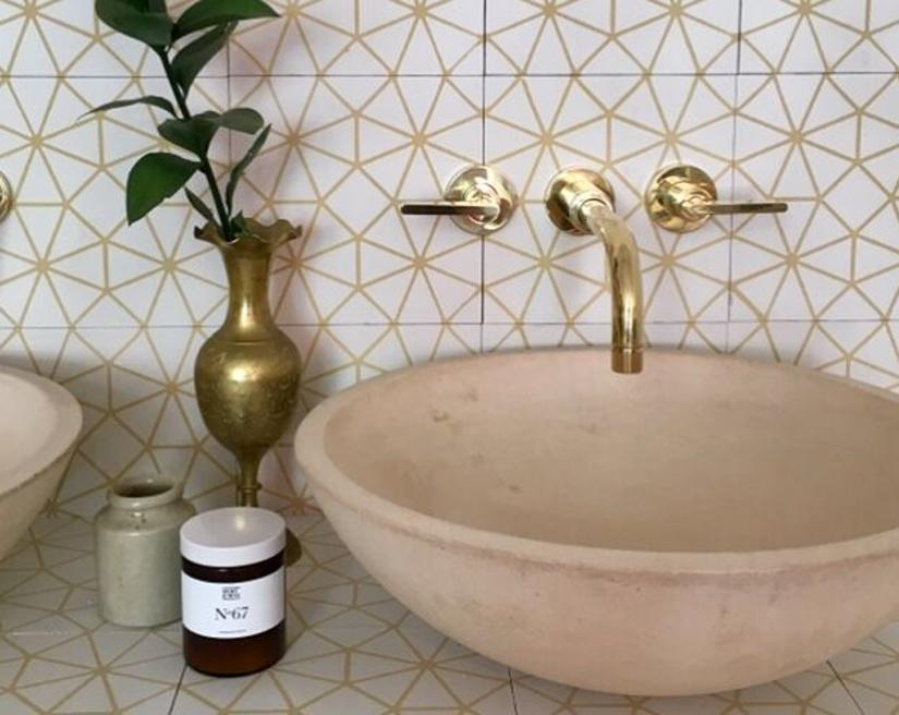 Bert & May White and Gold Octagon Tile