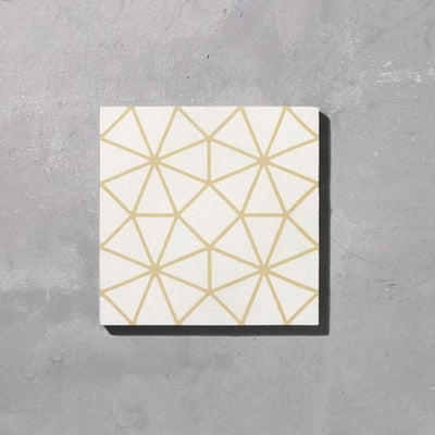 White and Gold Octagon Tile Tiles - Handmade
