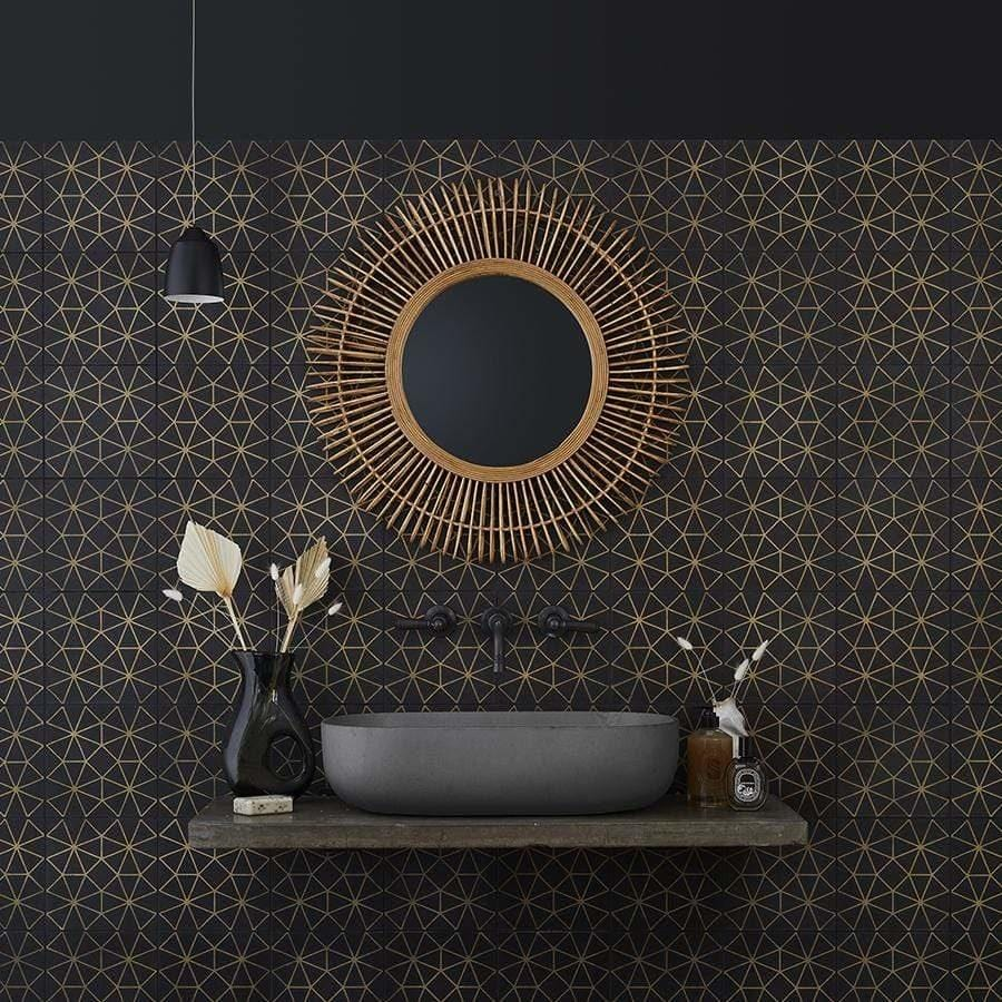 Black and Gold Octagon Tile Tiles - Handmade