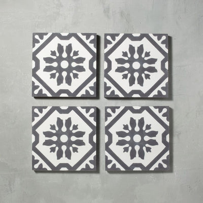 Black Basco Tile Tiles - Handmade