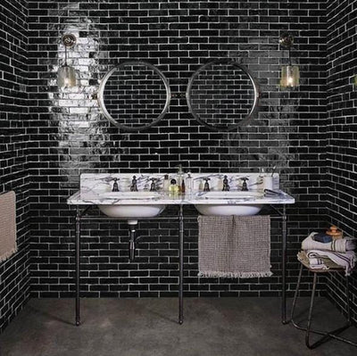 Black Bejmat Tile per SQM Tiles - Glazed