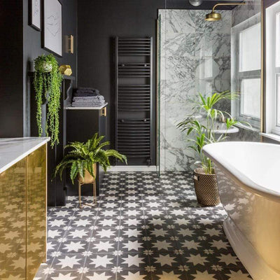 Black Pradena Tile Tiles - Handmade