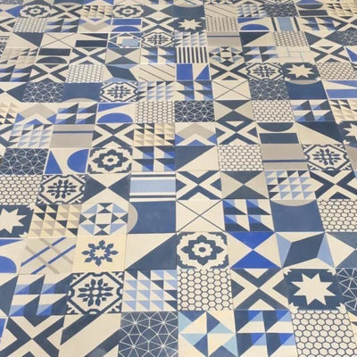 Blue Handmade Patchwork Tile Tiles - Handmade