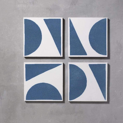 Blue Split Shift Three Tiles - Handmade