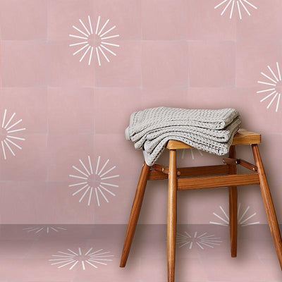 Blush Spokes Tile Tiles - Handmade
