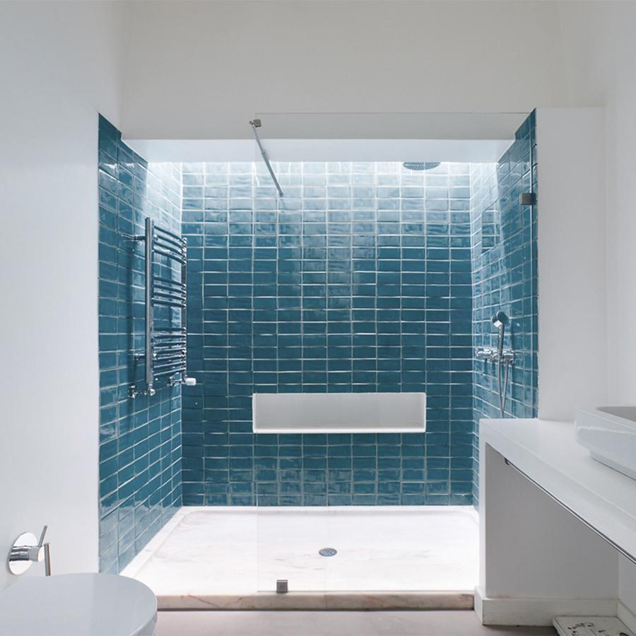 Blue Glazed Rectangle Tile Tiles - Glazed