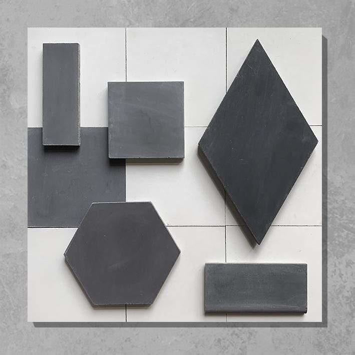 Darkroom Black Herringbone Tile Tiles - Handmade