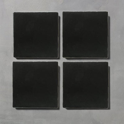 Matt Black Glazed Square Tile Tiles - Glazed