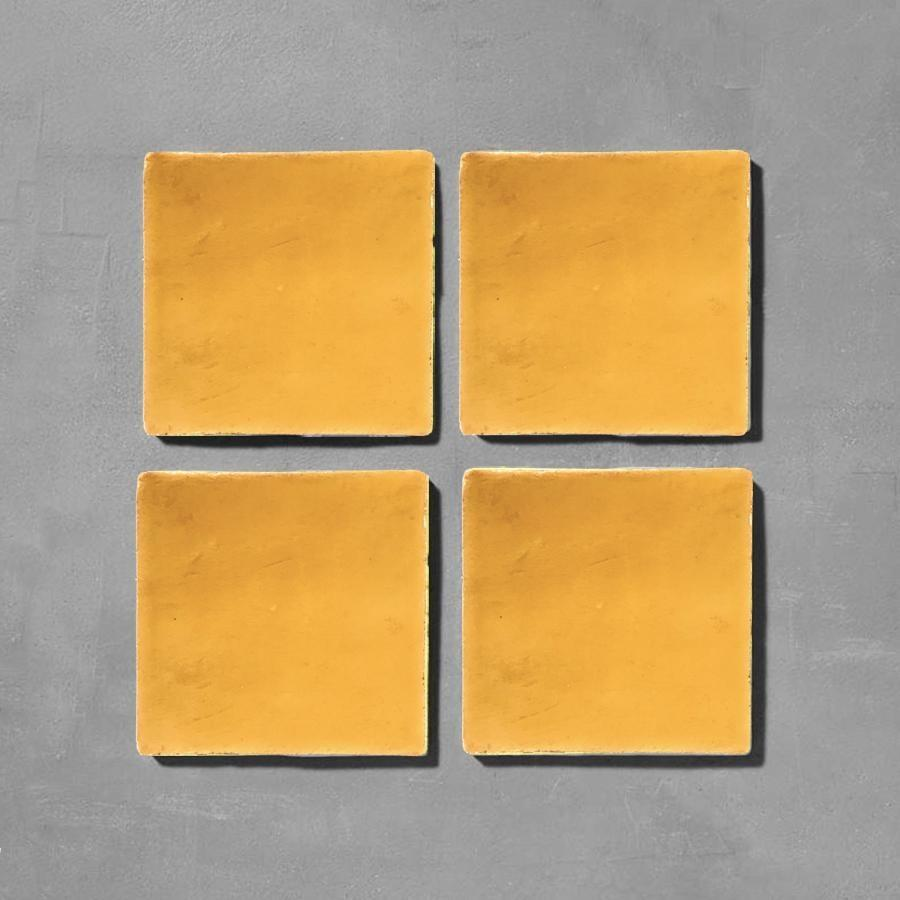 Golden Yellow Glazed Square Tile Tiles - Glazed