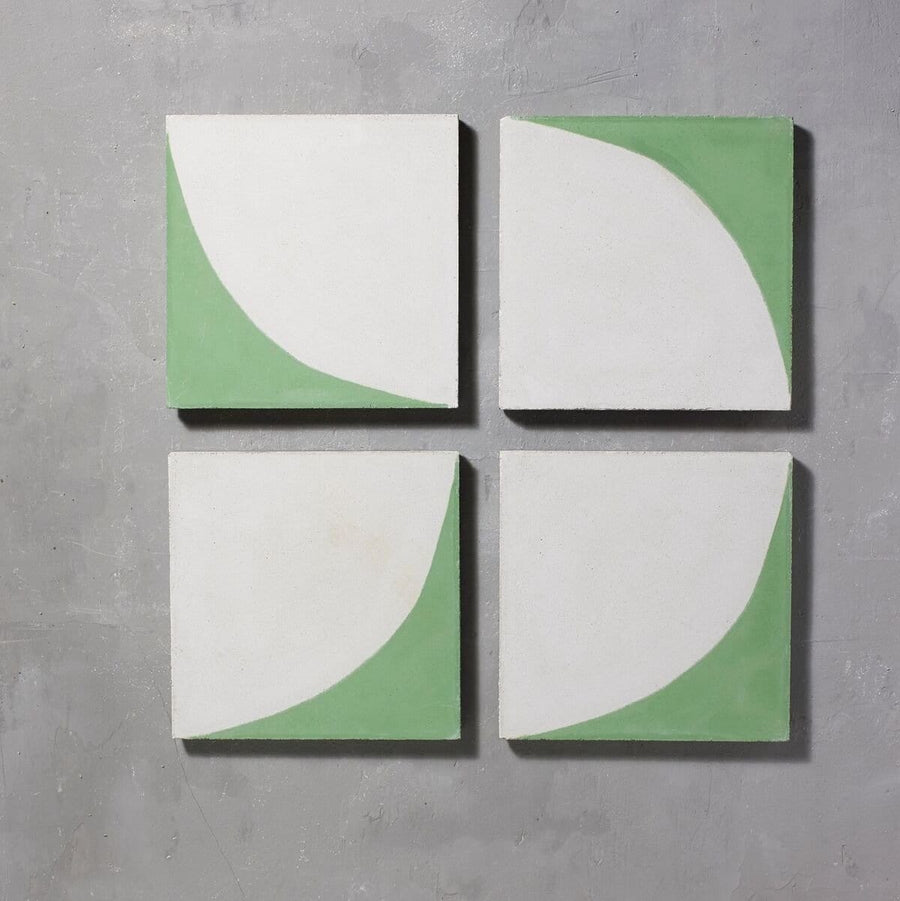 Green Arco Tile Tiles - Handmade
