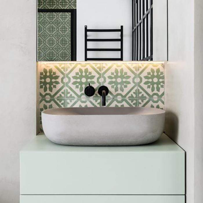 Green Basco Tile Tiles - Handmade