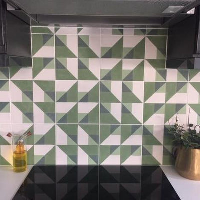 Green Cubist Tile Tiles - Handmade