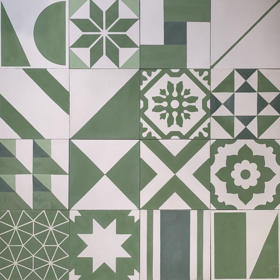 Green Handmade Patchwork Tile Tiles - Handmade