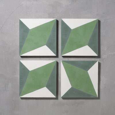 Green Otura Tile Tiles - Handmade