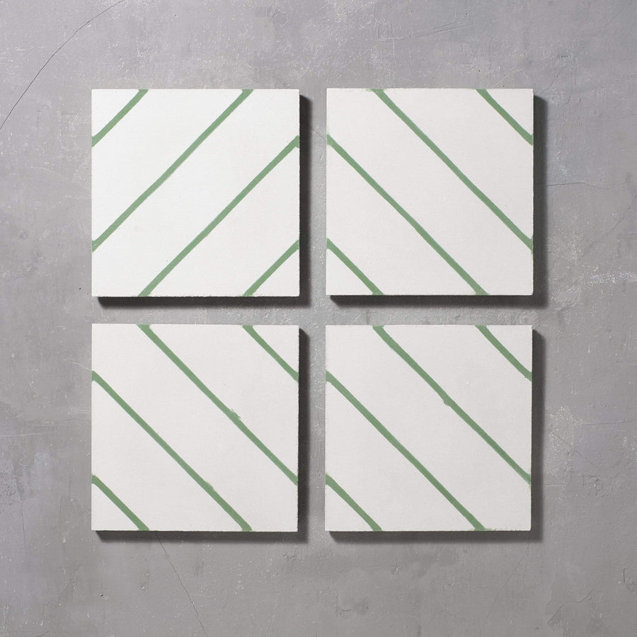 Green Pencil Salon Tile Tiles - Handmade