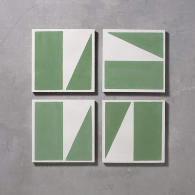 Green Split Shift One Tiles - Handmade
