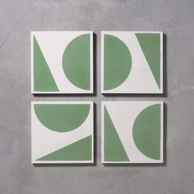 Green Split Shift Three Tiles - Handmade